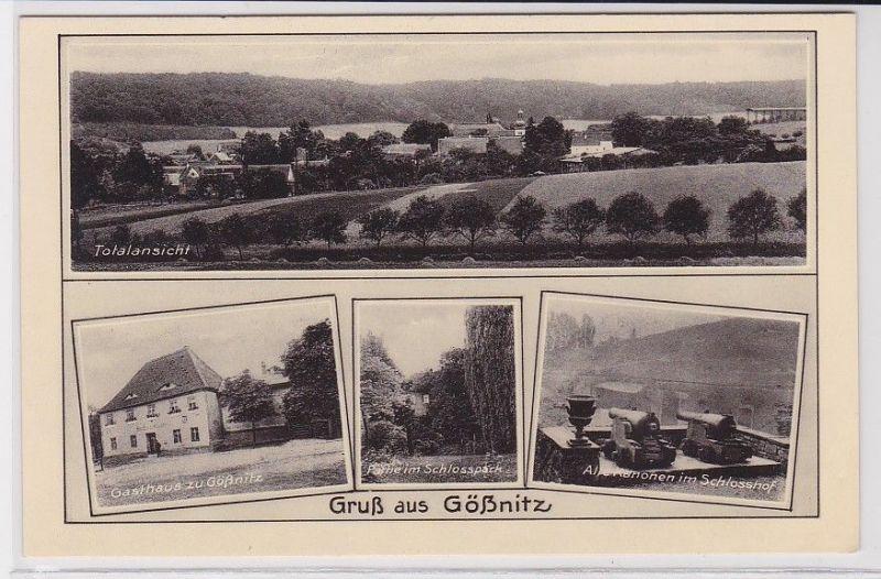 89105 Mehrbild Ak Gruß aus Gößnitz Gasthaus, Schloßhof usw. um 1930