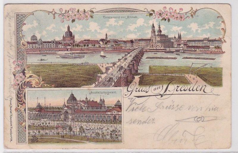 89494 Lithografie AK Gruss aus Dresden - Totalansicht der Altstadt 1901