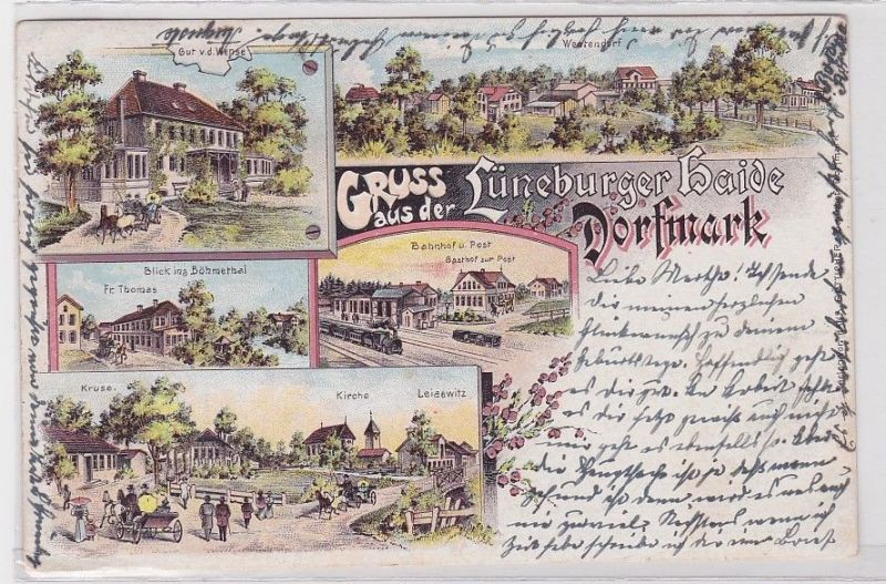 89492 Lithografie AK Gruss aus der Lüneburger Haide Dorfmark 1899