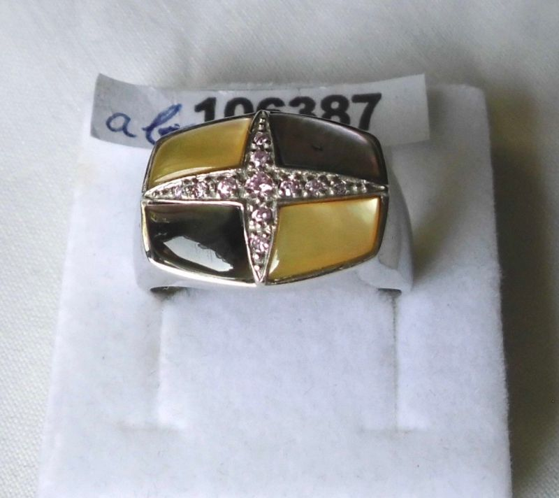 Wunderbarer Damen-Ring Silber 925 mit vier Steinen und rosa Glitzer (106387)