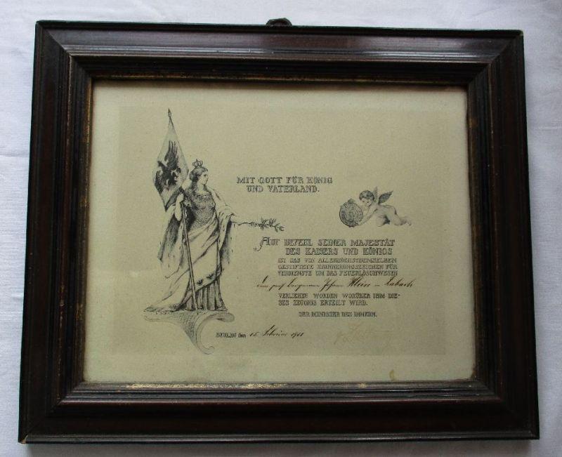 Urkunde Erinnerungszeichen für Verdienste um das Feuerlöschwesen 1911 (122494)