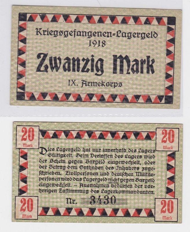 20 Mark Banknote Kriegsgefangenen Lagergeld 1918 IX.Armeekorps Güstrow (119473)