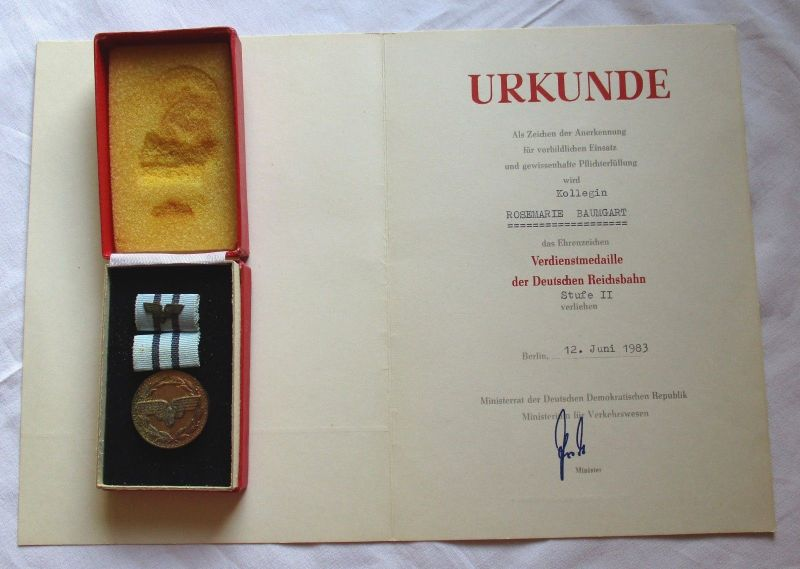 DDR Orden & Urkunde Deutsche Reichsbahn Verdienstmedaille Stufe II (122922)