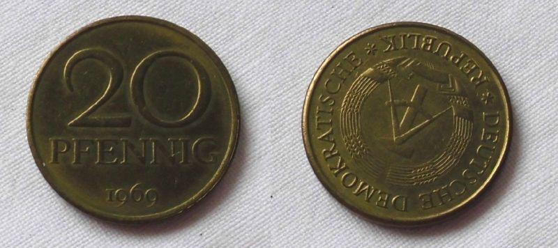 20 Pfennig DDR 1969 Fehlprägung, prägefrisch, Stempeldrehung 165 Grad (123534)