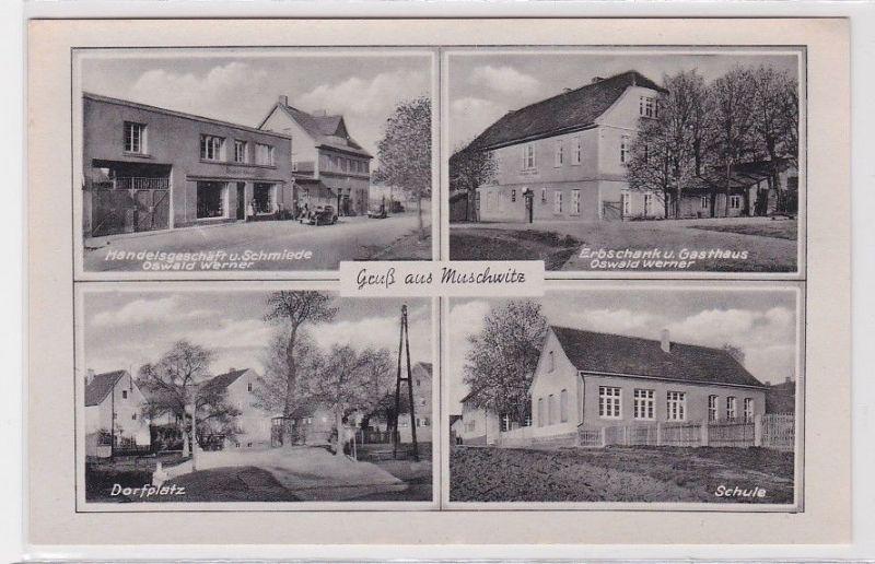 89908 Mehrbild Ak Gruß aus Muschwitz Gasthaus, Schmiede, Schule um 1940