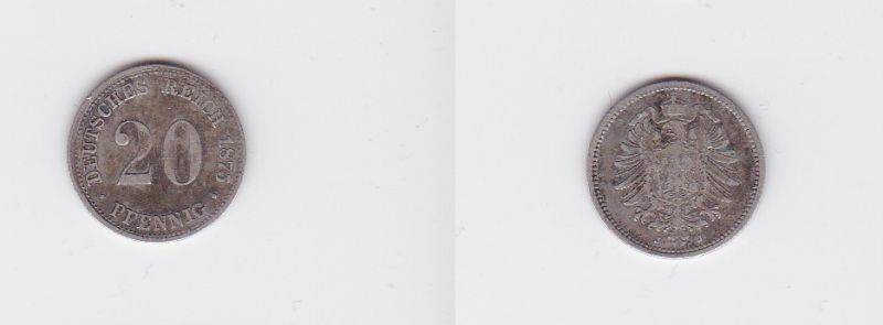20 Pfennig Silber Münze Deutsches Reich 1875 J Jäger 5 117123 Nr