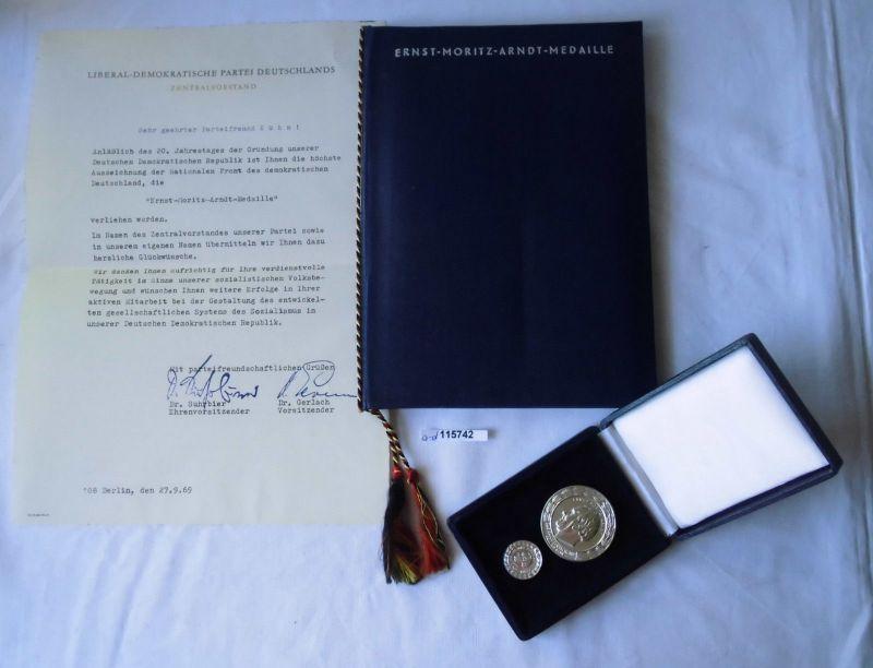 DDR Ernst Moritz Arndt Medaille 1969 mit Etui plus Urkunde (115742)
