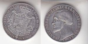 1 Doppeltaler Silber Münze Sachsen Coburg Gotha Herzog Ernst 1854 (111735)