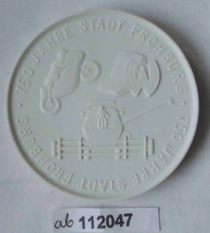 Schöne Porzellan Medaille 750 Jahre Stadt Frohburg 1233-1983 (112047)