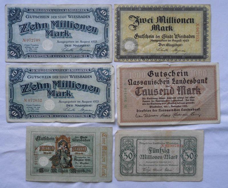 6 Banknoten Inflation Stadt Wiesbaden 1923 (114224)