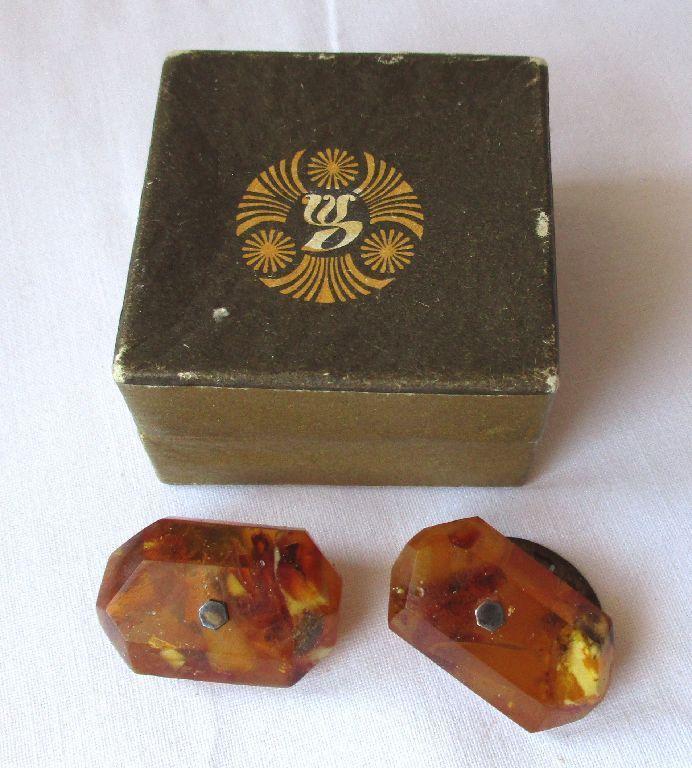 Schöne alte Bernstein Manschettenknöpfe, Amber Beads 10 Gramm (112745)