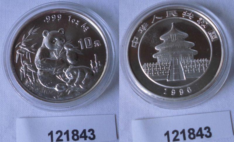 10 Yuan Silber Münze China Panda 1 Unze Feinsilber 1996 Stgl. (121843)