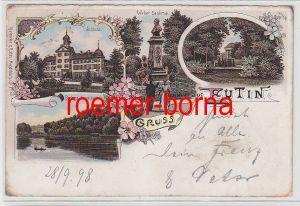 76404 Ak Lithografie Gruss aus Eutin Schloss, Weber Denkmal usw. 1898