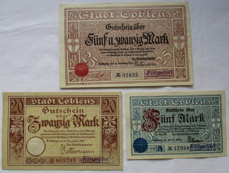 3 Banknoten 5 + 20 + 25 Mark Notgeld Coblenz 15. November 1918 (124640)