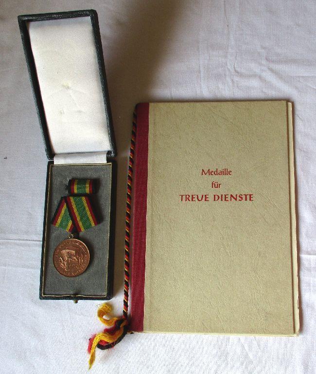 DDR NVA Medaille Für Treue Dienste Bronze Stasi + Urkunde Mielke 1957 (123120)