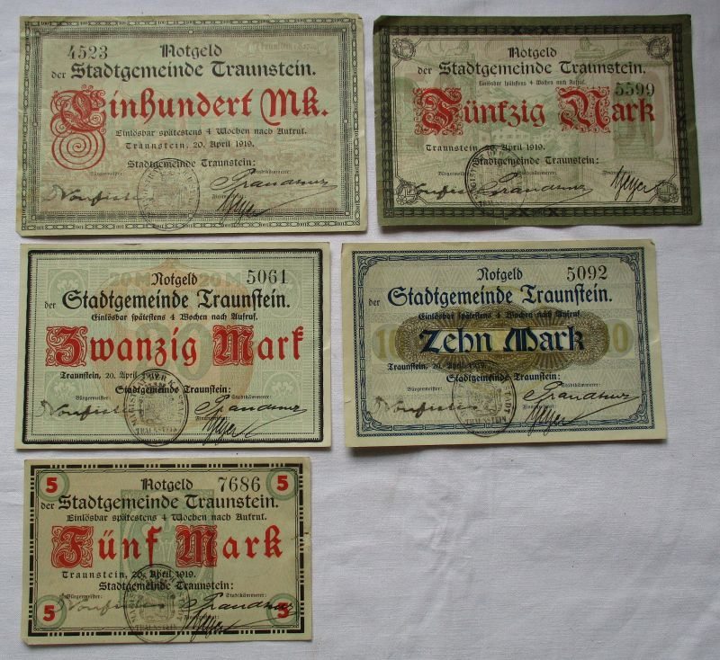 5 Banknoten Notgeld Stadtgemeinde Traunstein 20.04.1919 (124595)