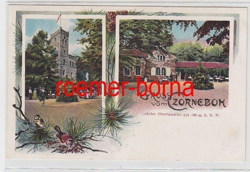 76665 Ak Lithografie Gruss vom Czorneboh sächs. Oberlausitz um 1910