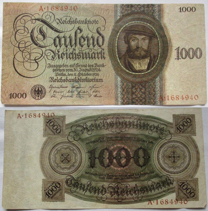 1000 Reichsmark Banknote Deutsches Reich 11.10.1924 R/A Rosenberg 172 a (124728)
