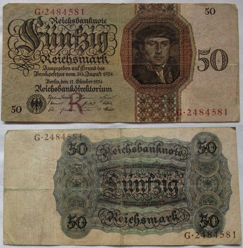 50 Reichsmark Banknote Deutsches Reich 11.10.1924 Rosenberg 170 a (124814)