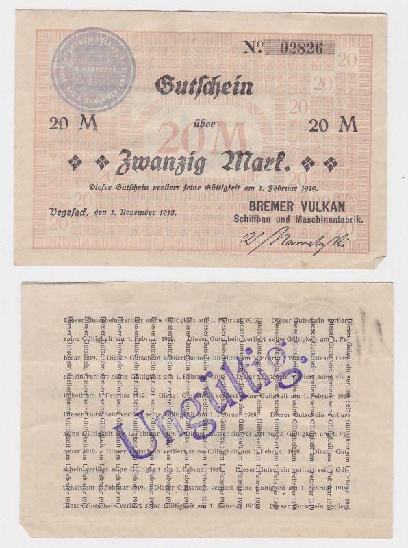 20 Mark Banknote Gutschein Bremer Vulkan Werft Vegesack 01.02.1918 (124829)