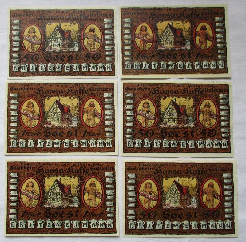 6 Banknoten Notgeld Soest Hansa-Kaffee 31.12.1922 (124680)