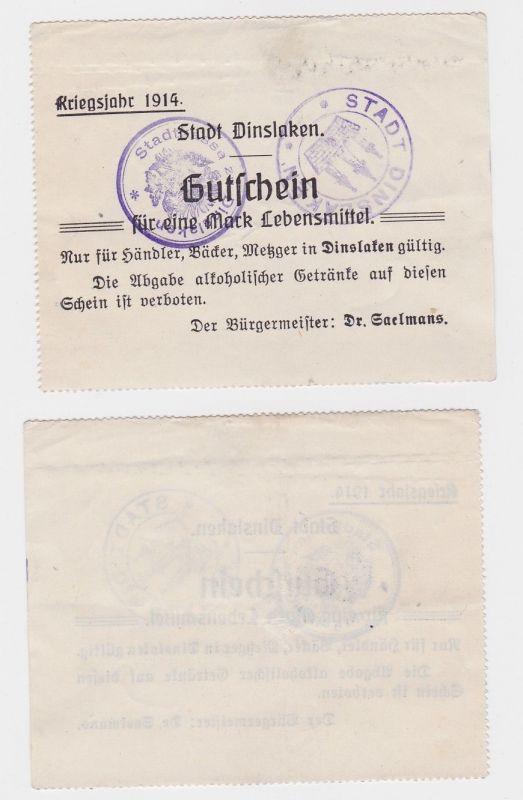 1 Mark Banknote Notgeld Gemeinde Dinslaken Kriegsjahr 1914/15 (124870)