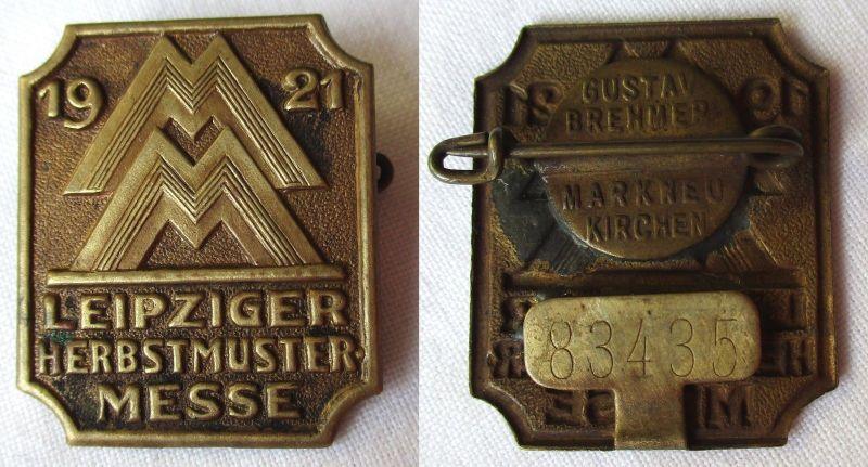 Blech Abzeichen Leipziger Herbstmustermesse 1921 Einkäuferabzeichen (125002)