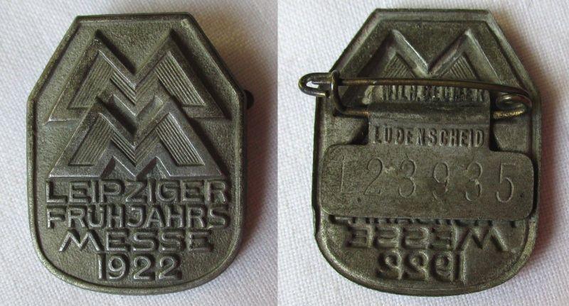 Blech Abzeichen Leipziger Frühjahrsmesse 1922 Einkäuferabzeichen (124560)