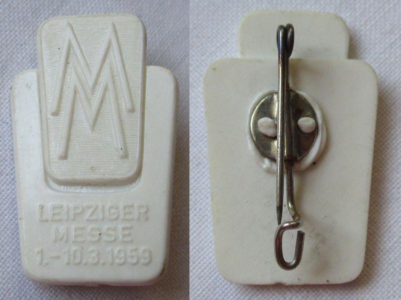 Kunststoff DDR Ausländerabzeichen Leipziger Messe 1.-10.3. 1959 (124935)
