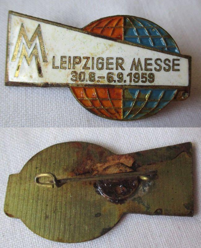 Emailliertes DDR Ausländerabzeichen Leipziger Messe 30.8.-6.9. 1959 (124439)
