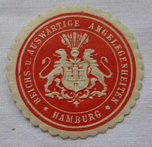 Vignette Siegelmarke Reichs- u. Auswärtige Angelegenheiten Hamburg (124886)