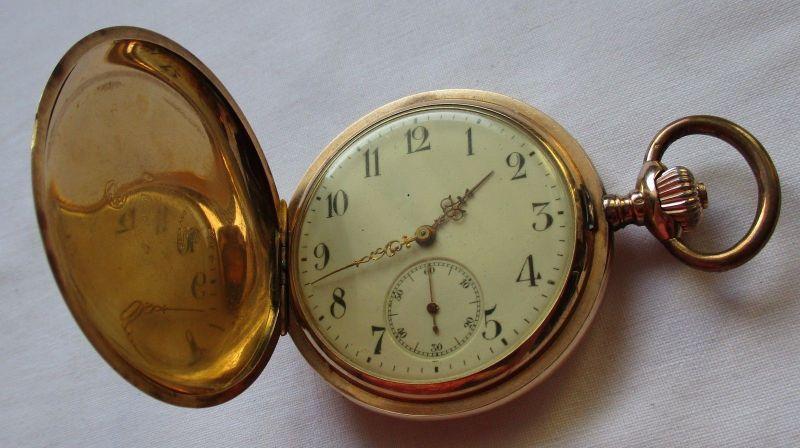 0,585 Goldene Savonette Sprungdeckel Taschenuhr Seeland M im Anker 1891 (125010)