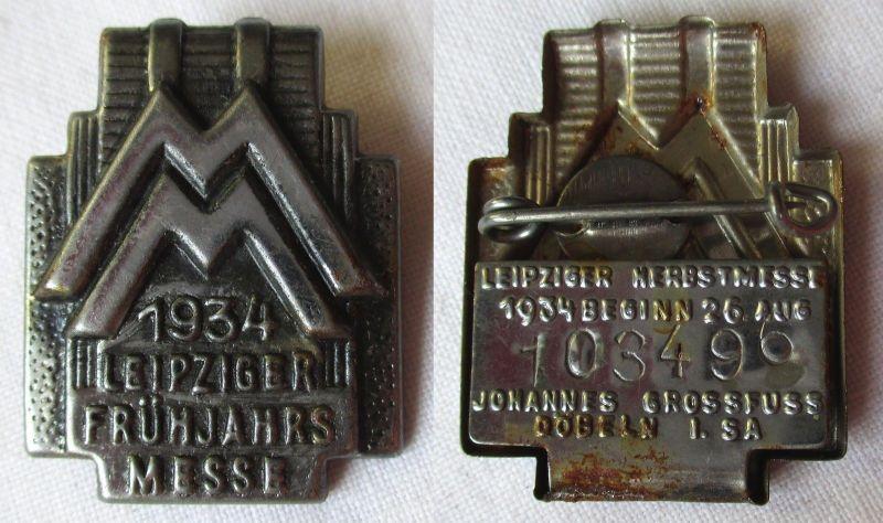 Blech Abzeichen Leipziger Frühjahrsmesse 1934 Besucherabzeichen (124977)