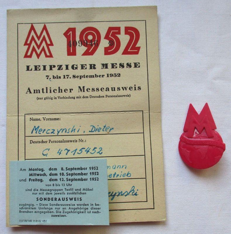 DDR Messeausweis / Sonderausweis Leipziger Herbstmesse 1952 + Abzeichen (124936)