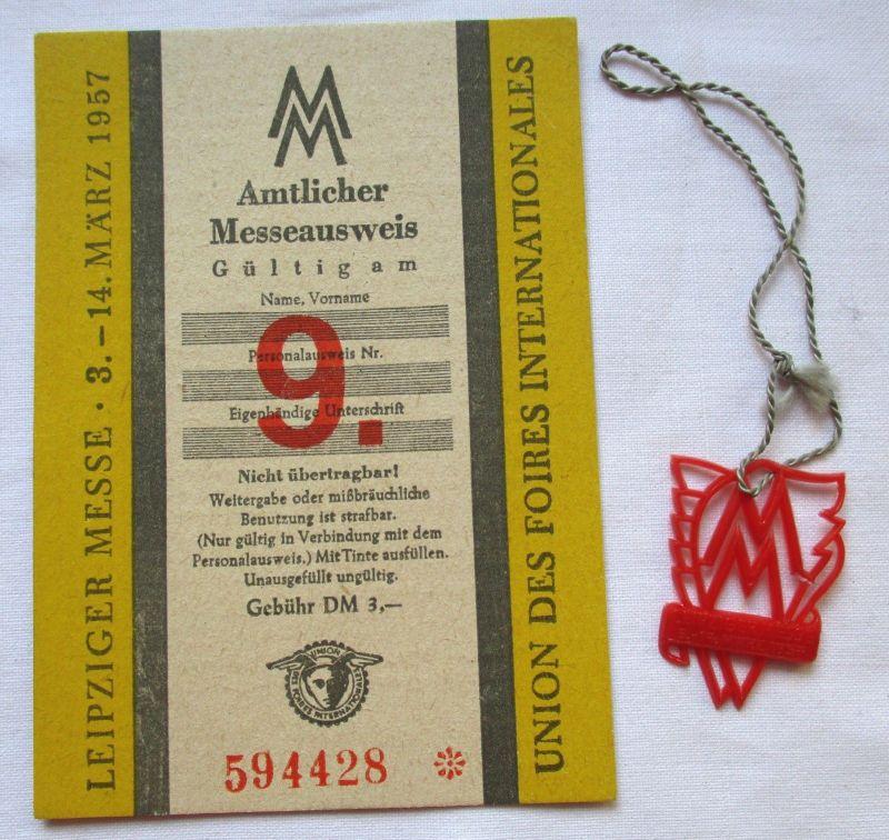 DDR Messeausweis Leipziger Frühjahrsmesse 1957 + Messeabzeichen (125008)