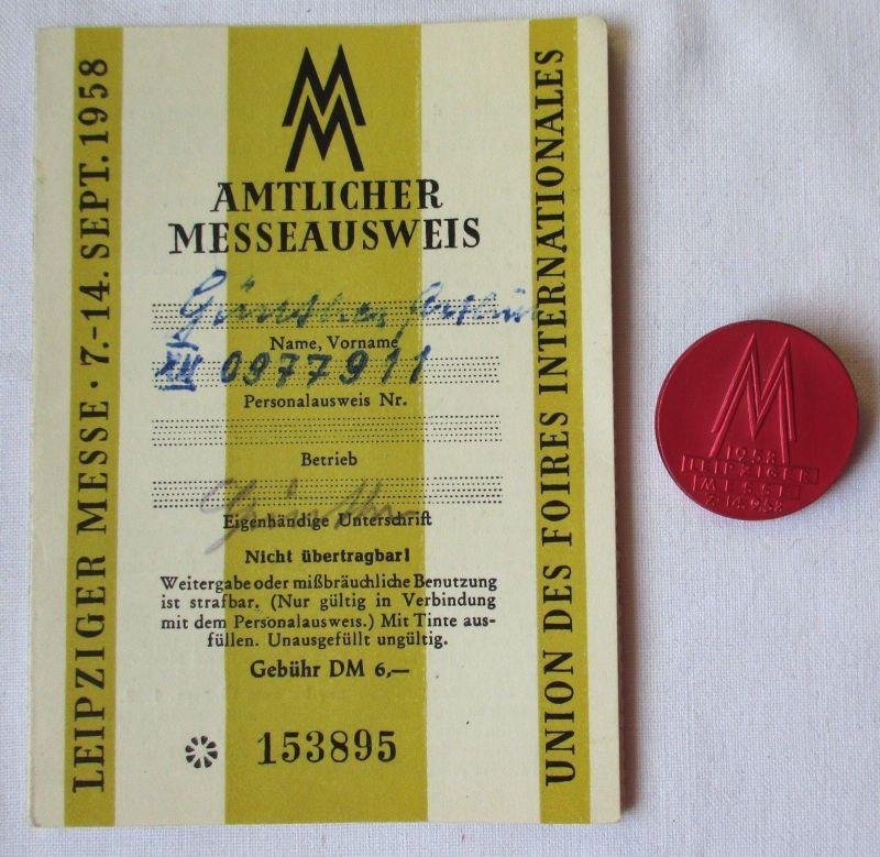 DDR Messeausweis Leipziger Herbstmesse 1958 + Messeabzeichen (124990)