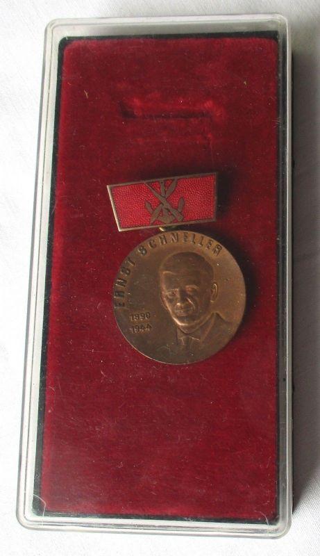 DDR Medaille Ernst Schneller GST Bronze 1961-70 im Etui (119041)