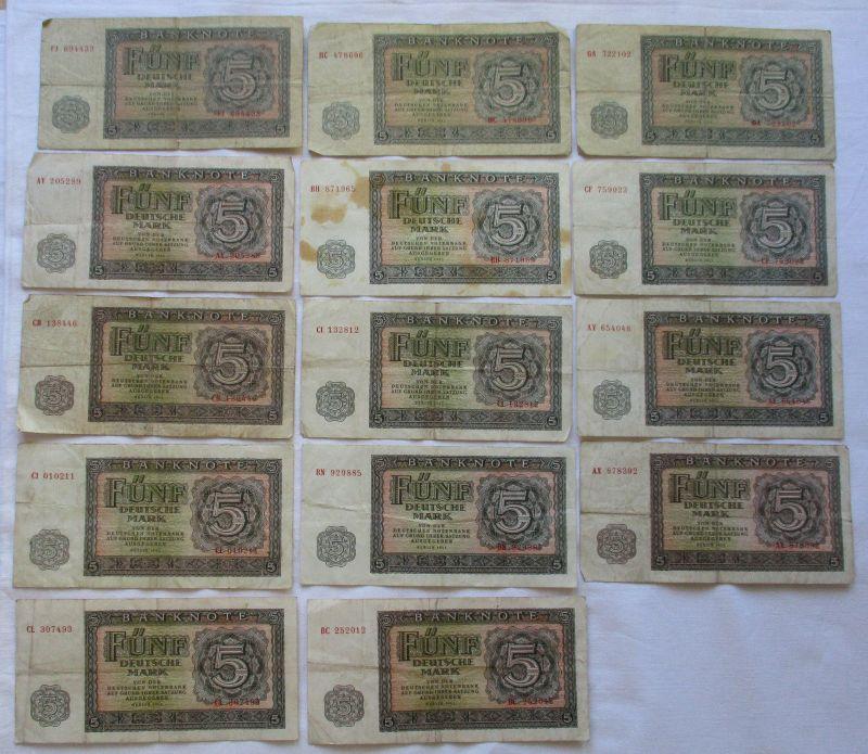 14 x 5 Mark Banknoten DDR Deutsche Notenbank 1955 (112244)