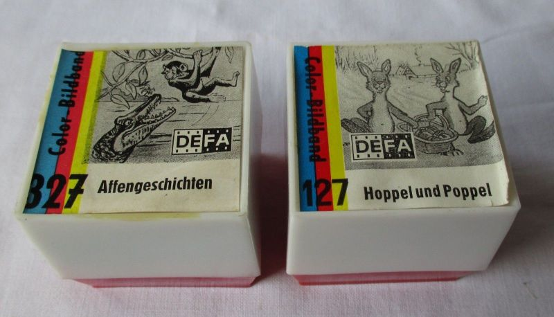 2 DIA FILME Pouva Magica DEFA 327+127 Hoppel & Poppel, Affengeschichten (116569)
