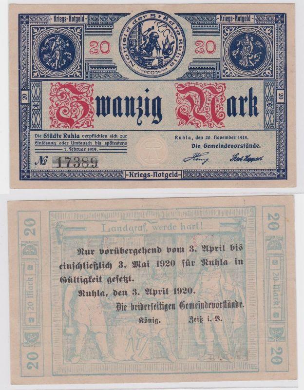 20 Mark Banknote Kriegs Notgeld der Städte Ruhla 20.11.1918 (121121)