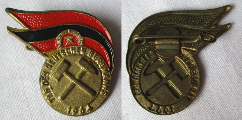 Seltenes DDR Blech Abzeichen Tag des Bergmanns 1964 (114082)