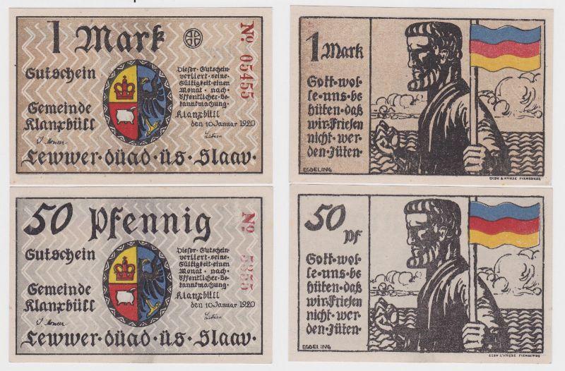 50 Pfennig & 1 Mark Banknoten Notgeld Gemeinde Klanxbüll 10.1.1920 (122368)