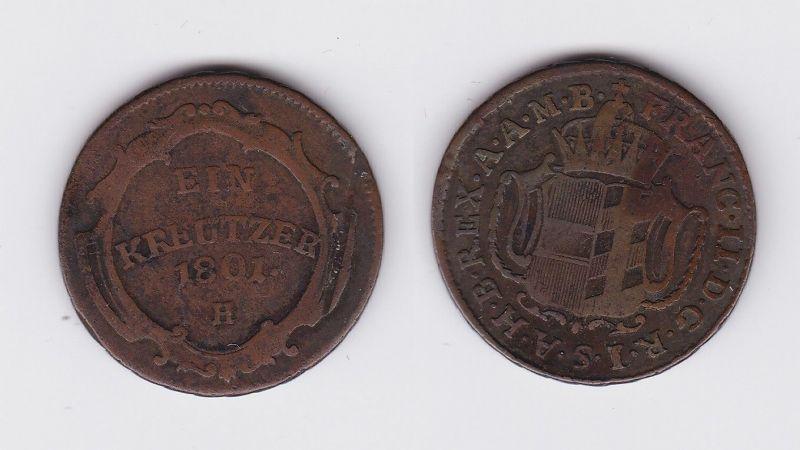 1 Kreuzer Kupfer Münze Österreich 1801 H (117362)