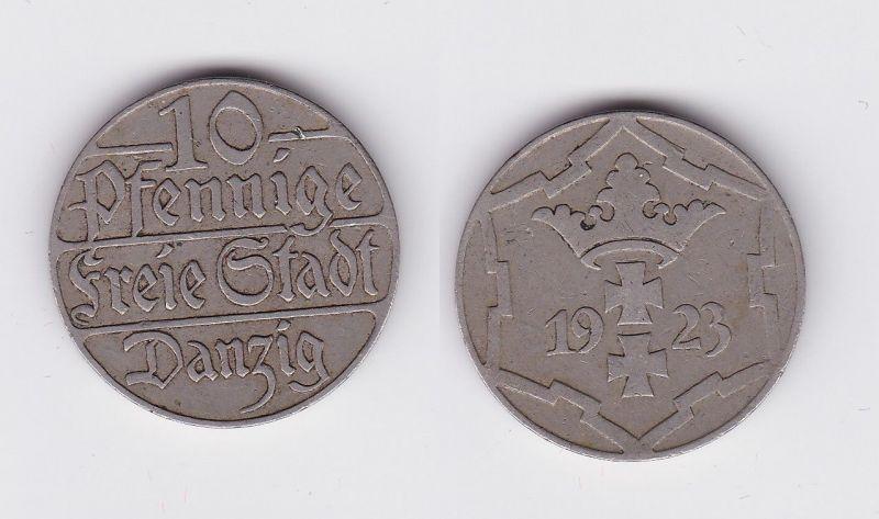 10 Pfennig Kupfer Nickel Münze Danzig 1923 Jäger D 5 (116808)
