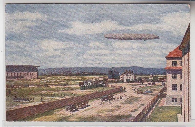 67198 Ak Ersatz-Abt. d. Telegraphen-Btls. 7 Dresden mit Zeppelin um 1915