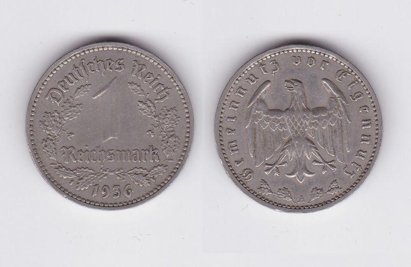 1 Mark Nickel Münze III.Reich 1936 A Jäger Nr. 354 (117931)
