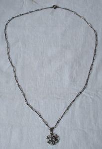 Auffällige 835er Silber Kette mit Stern Anhänger und rosa Stein (113719)