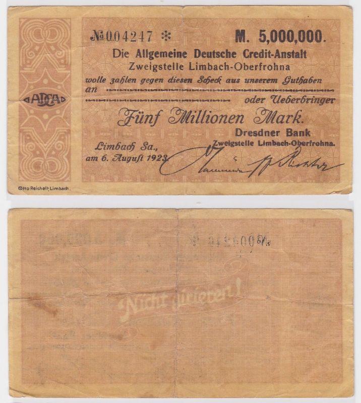 5 Millionen Mark Banknote allg. dt. Credit Anstalt Limbach 6.8.1923 (121805)