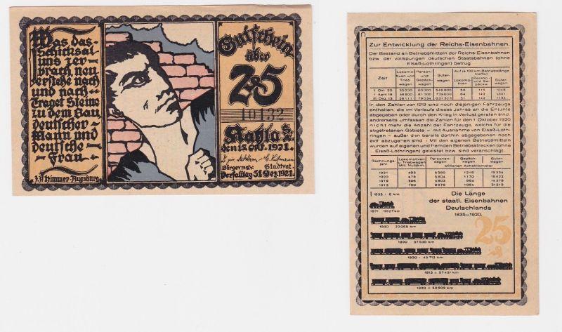 25 Pfennig Banknote Notgeld Stadt Kahla 1921 (122513)