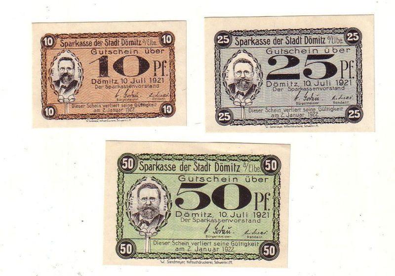 3 Banknoten 10, 25, 50 Pfennig Notgeld Stadt Dömitz 1921 (111222)